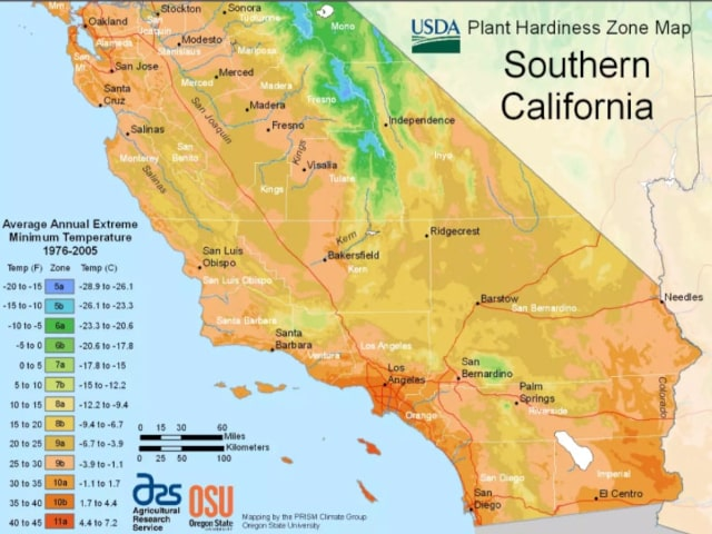 USDA California planting zones