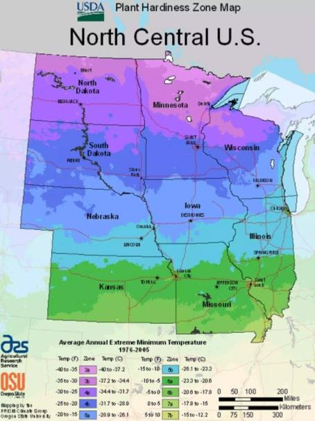USDA North-Central planting zones