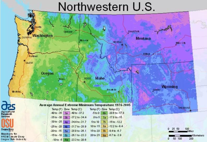 USDA Northwestern planting zones