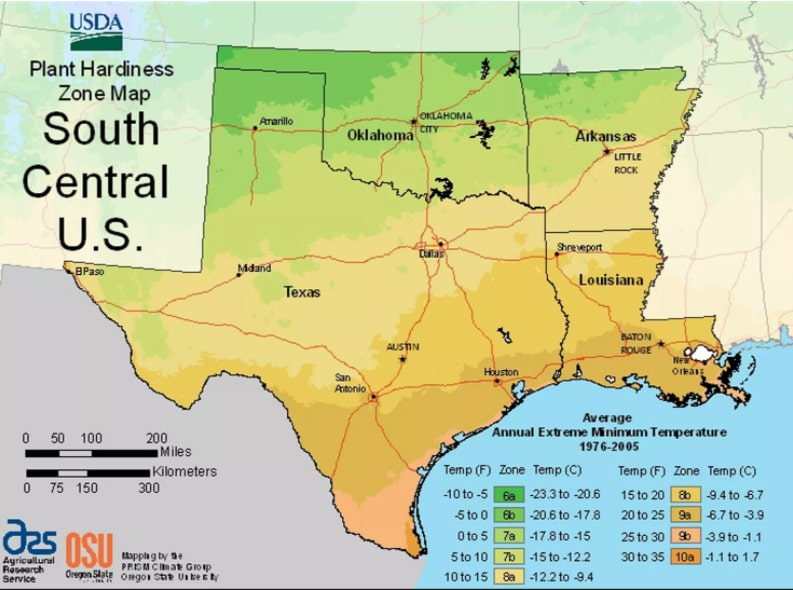 USDA South-Central planting zones