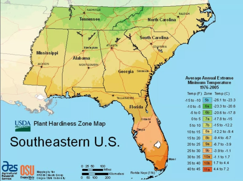 USDA Southeastern planting zones