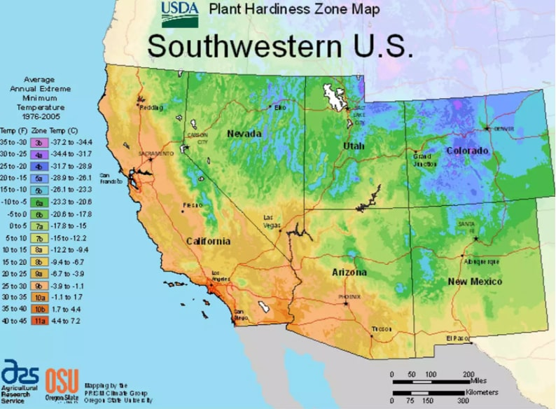 USDA Southwestern planting zones